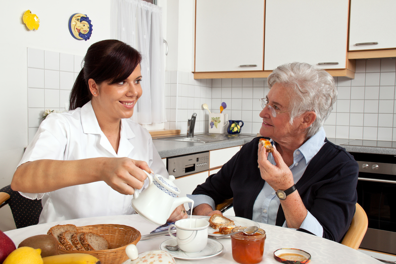 Nurse helping senior at breakfast